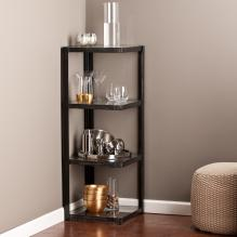 Metal/Glass Corner Shelf - Distressed Black