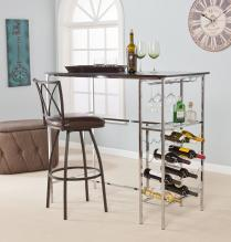 Stelly Wine Storage Pub Table - Black/Chrome