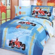 F1 Blue - Duvet Cover Bed In Bag - Twin Kids Bedding Juvenile Set