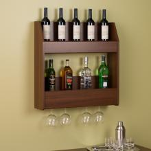 Warm Cherry 2-Tier Floating Wine and Liquor Rack