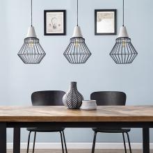 Brodiman Geometric Cage Pendant Lamp Collection - 3pc Set - Black