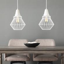 Brodiman Cage Pendant Lamp Collection - 2pc Set - White