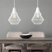 Brodiman Cage Pendant Lamp Collection - 2pc Set - White