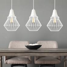 Brodiman Cage Pendant Lamp Collection - 3pc Set - White