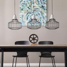 Brantville Black Cage Pendant Lamps - 3pc Set