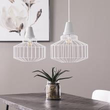 Brantville White Cage Pendant Lamps - 2pc Set