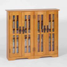 4-Door Media Wall Mount Cabinet W/ Glass Doors