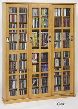 Glass Sliding 3-Door Mission Media Cabinet With Hardwood Veneer