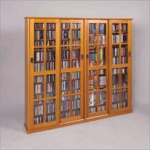 Leslie Dame Glass 4-Door Multimedia Storage Cabinet