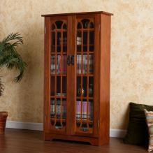 Window Pane Media Cabinet - Oak