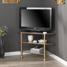 Jaymes Metal/Glass Corner TV Stand - Gold