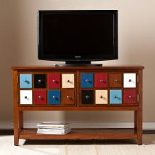 Apothecary Console/TV Stand - Multicolor w/ Brown Mahogany