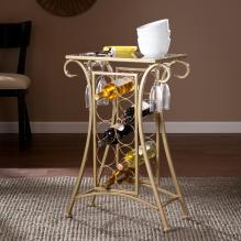 Newnan Wine Rack Table - Gold