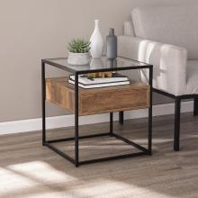 Olivern Glass-Top End Table w/ Storage