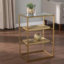 Penketh Glass-Top End Table w/ Storage