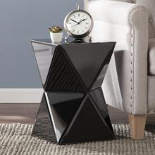 Justine Mirrored Accent Table - Black