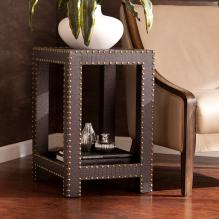 Reptilian Nailhead Accent Table - Brown