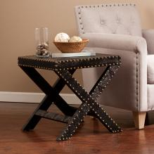 Reptilian Nailhead X Accent Table - Black