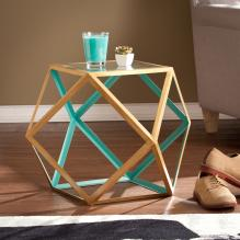 Jenna Accent Table - Blue & Champagne