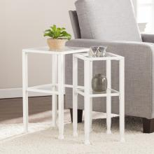 Jaymes Metal/Glass Contemporary 2pc Nesting Table Set - Whit