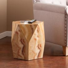 Roxbury Faux Stone Accent Table - Tan Marble