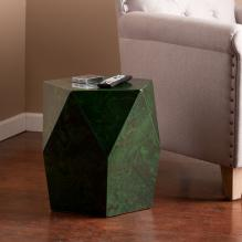 Roxbury Faux Stone Accent Table - Green Malachite