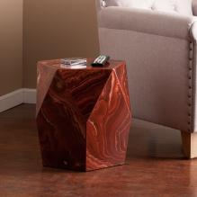Roxbury Faux Stone Accent Table - Red Marble