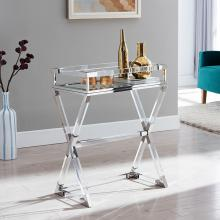Bedoya Acrylic Serving Tray Table - Polished Nickel