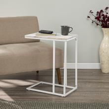 Danner White C Table/Laptop Desk w/ Acacia Wood Top