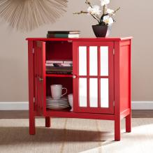 Pike Double-Door Mirrored Cabinet - Red