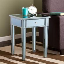 Mirage Colored Mirror Accent Table - Blue