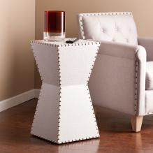 Warrington Faux Leather Accent Table - White