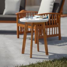 Latchia Terrazzo-Top Round Outdoor Accent Table