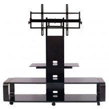 Curved wood TV stand/cart with universal mounting system for 35 to 85 inch TV