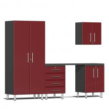 Ulti-MATE Garage 2.0 Series 5-Piece Kit with Workstation Ruby Red Metallic