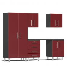 Ulti-MATE Garage 2.0 Series 6-Piece Kit with Workstation Ruby Red Metallic