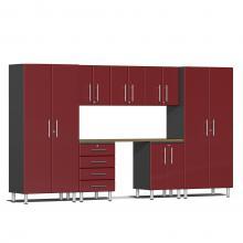 Ulti-MATE Garage 2.0 Series 8-Piece Kit with Bamboo Worktop Ruby Red Metallic
