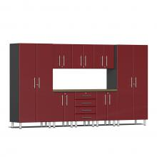 Ulti-MATE Garage 2.0 Series 9-Piece Kit with Worktop Ruby Red Metallic