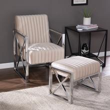 Ellison Velveteen Accent Chair and Ottoman - 2pc Set - Champagne w/ Chrome