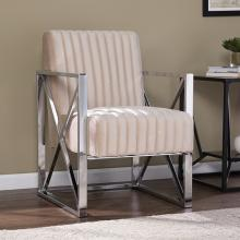Ellison Velveteen Accent Chair - Champagne w/ Chrome