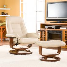 Bonded Leather Recliner And Ottoman - Taupe