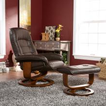 Bonded Leather Recliner And Ottoman - Coffee Brown
