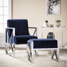 Ellison Velveteen Accent Chair - Modern Glam Style - Blue