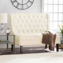 Linklea High-Back Tufted Settee Bench - Warm Buttercream