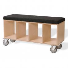Bench Box w/casters - Gray Wool upholstery