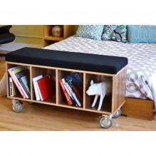 Walnut Bench Box w/casters - Gray Wool upholstery