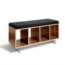 Walnut Bench Box w/legs - Gray Wool upholstery