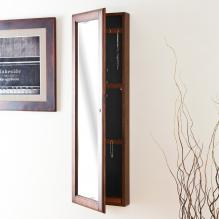 Wall Mount Jewelry Mirror - Brown Walnut