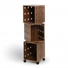 Walnut Perf Boxes- 3 stack with casters
