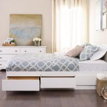 White Queen Mateís Platform Storage Bed with 6 Drawers